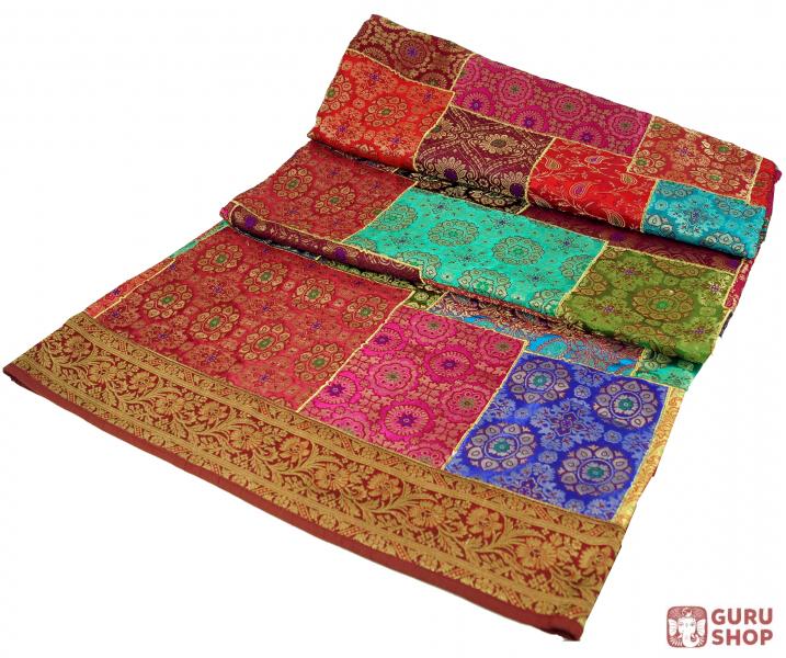 Orientalische Patchwork Brokatdecke Indische Tagesdecke Patchwork