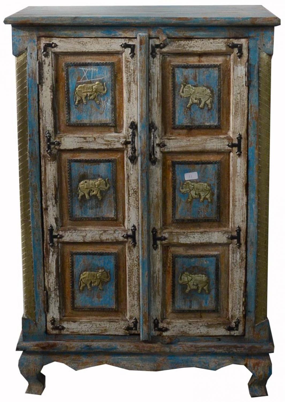 Schrank, Kleiderschrank, Massivholz, Kolonialstil Indien - 120x80x40 cm