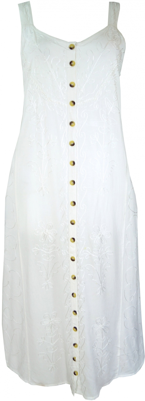 Besticktes Boho Sommerkleid Indisches Hippie Tragerkleid Weiss Design 17