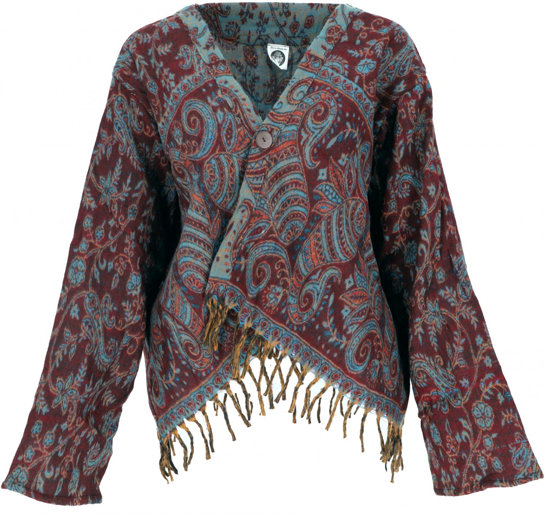 Size:40 Boho Jacken Legeres J/äckchen GURU SHOP Bolero Jacke Synthetisch Damen Westen Alternative Bekleidung Weinrot//blau