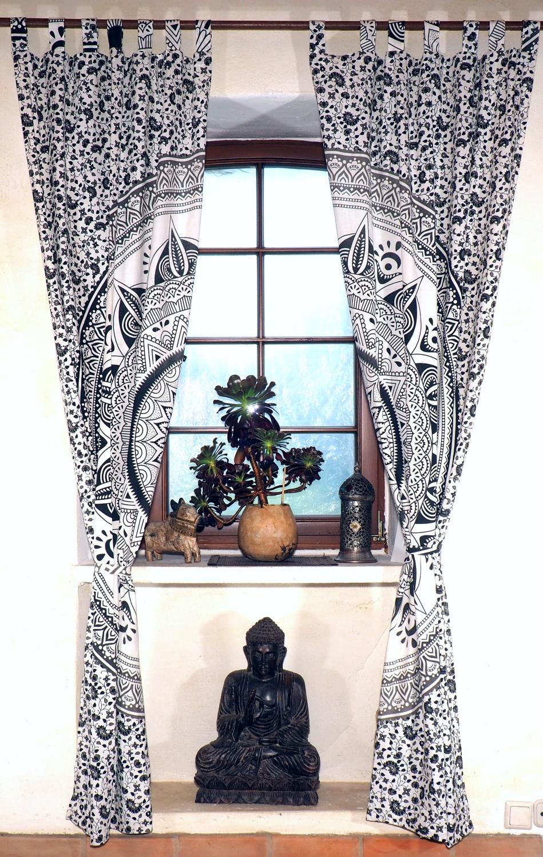 Vorhang, Gardine (1 Paar Vorhänge, Gardinen) mit Schlaufen ...