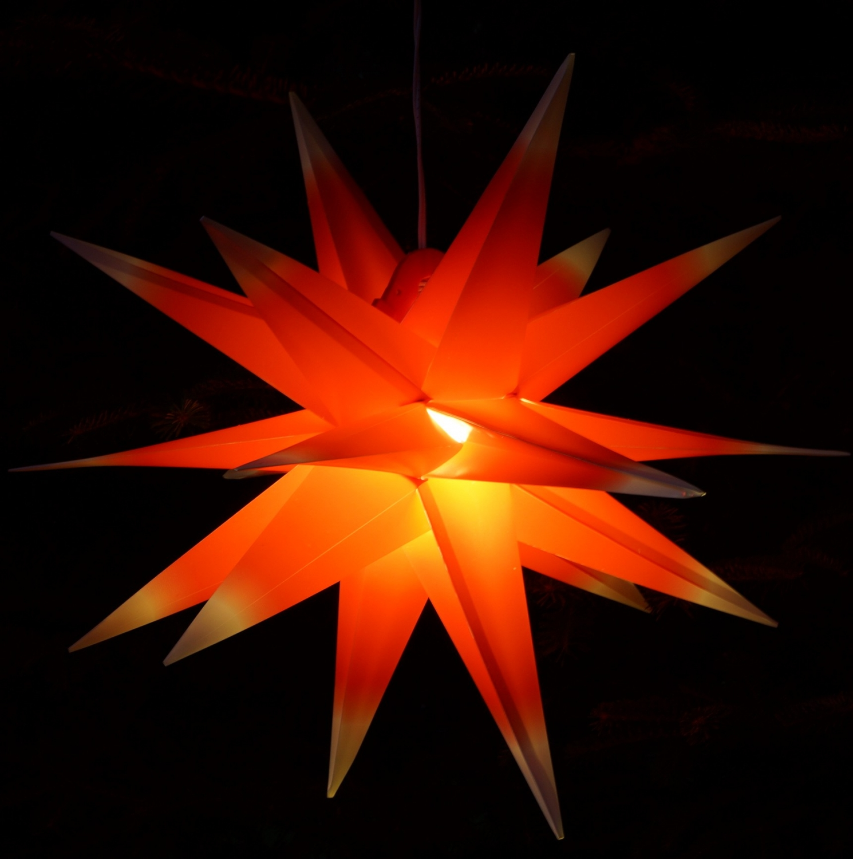 3D Außenstern Ø 55 cm Faltstern Kaspar mit 18 Spitzen incl. Weihnachtsstern