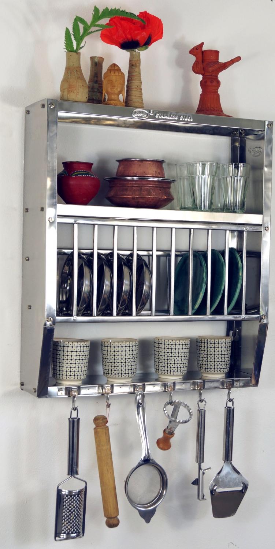 Edelstahl Küchenregal Wandregal Miniküche Mit Ablagefür 11 Teller 6 Tassen Klein 51x45x13 Cm