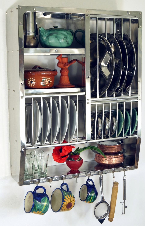Edelstahl Küchenregal, Wandregal Miniküche mit Ablagefür 13 Teller ...