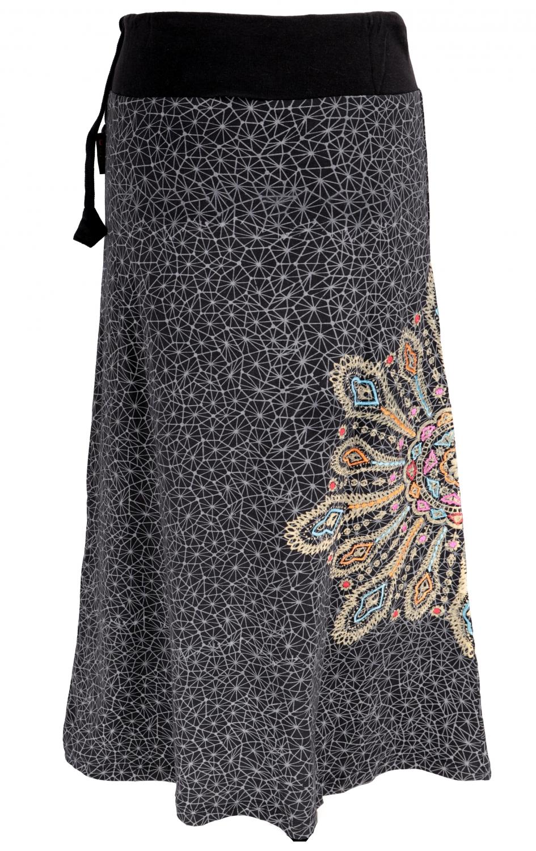 Maxi skirt, long skirt Mandala, Boho skirt   black/grey