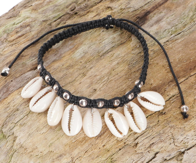 PerlenarmbandFußkettchen Kauri Schnecke, Makramee, Muschel Armband Model 1