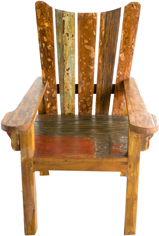 Holz Sessel Stuhl aus recyceltem Teakholz Modell 10 115x76x80 cm