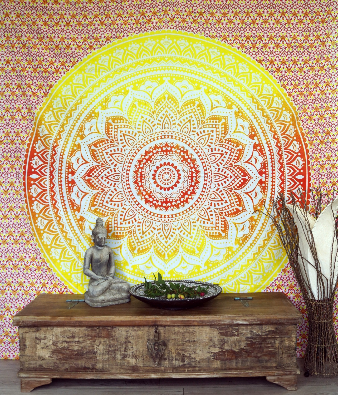 Indian Mandala Scarf, Wall Towel, Bedspread Mandala Print - orange ...