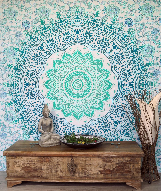 Indisches Mandala Tuch Wandtuch Tagesdecke Mandala Druck Smaragdgrün 230x210 Cm
