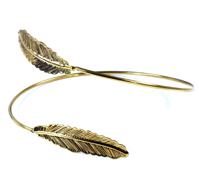 Indischer Oberarm Armreifen Messing, Boho Armschmuck, Feder gold Ø9 cm