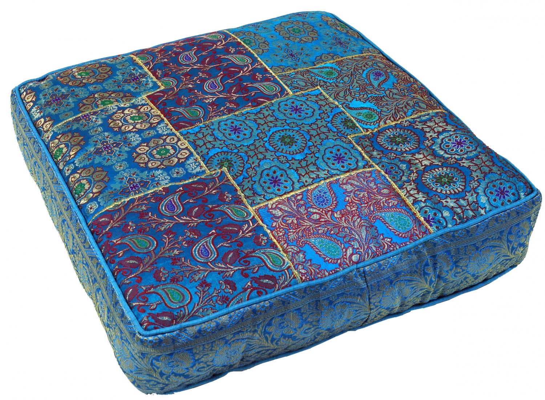 Orientalisches eckiges patchwork kissen 50 cm sitzkissen bodenkissen mit baumwollf llung for Sitzkissen orientalisch