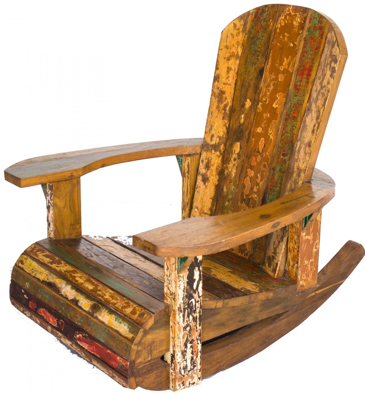 Schaukelstuhl holz sessel aus recyceltem teakholz modell 8 94x86x92 cm - Schaukelstuhl aus holz ...