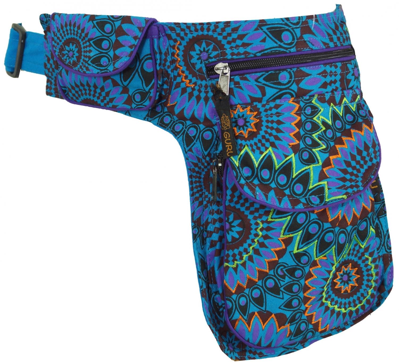 schwarz//violett Goa Gürteltasche Stoff Sidebag /&  Gürteltasche