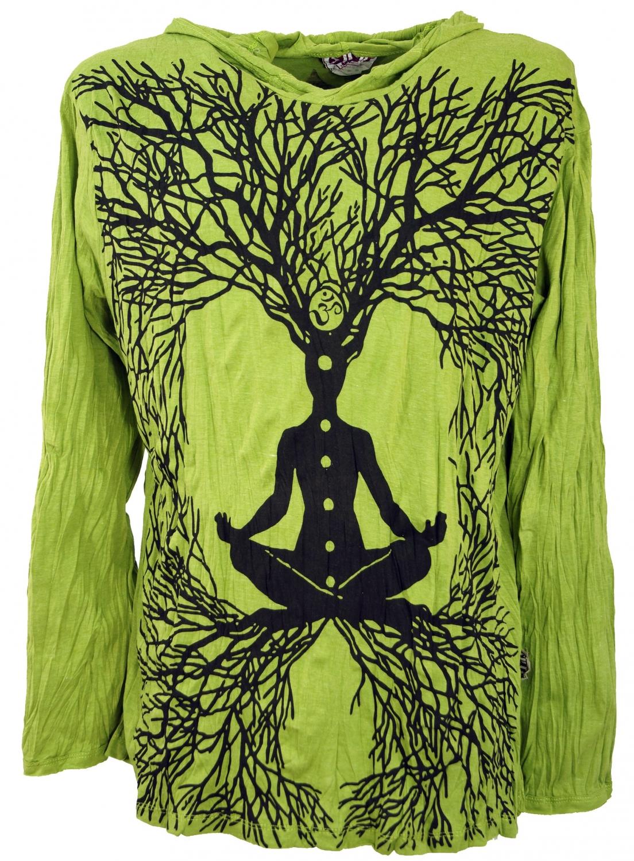 Guru-Shop Hoodie Meditation Chakra Buddha Printed T-Shirts Cotton Sure Long Sleeve Shirt