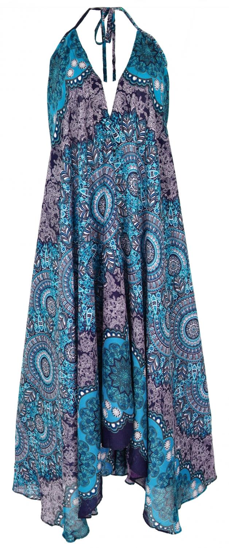 boho sommerkleid, magic dress, maxikleid, neckholder strandkleid -  marine/hellblau