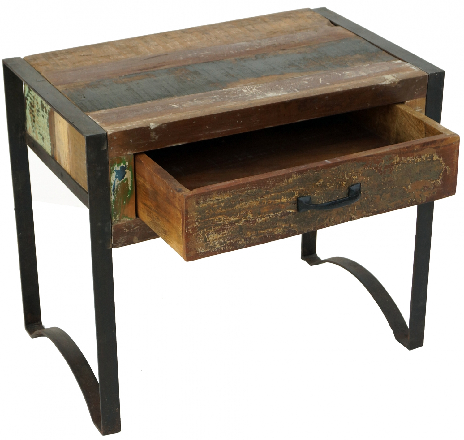 - Vintage Side Table, Bedside Table In Metal And Recycled Wood - Model 2 -  50x60x38 Cm