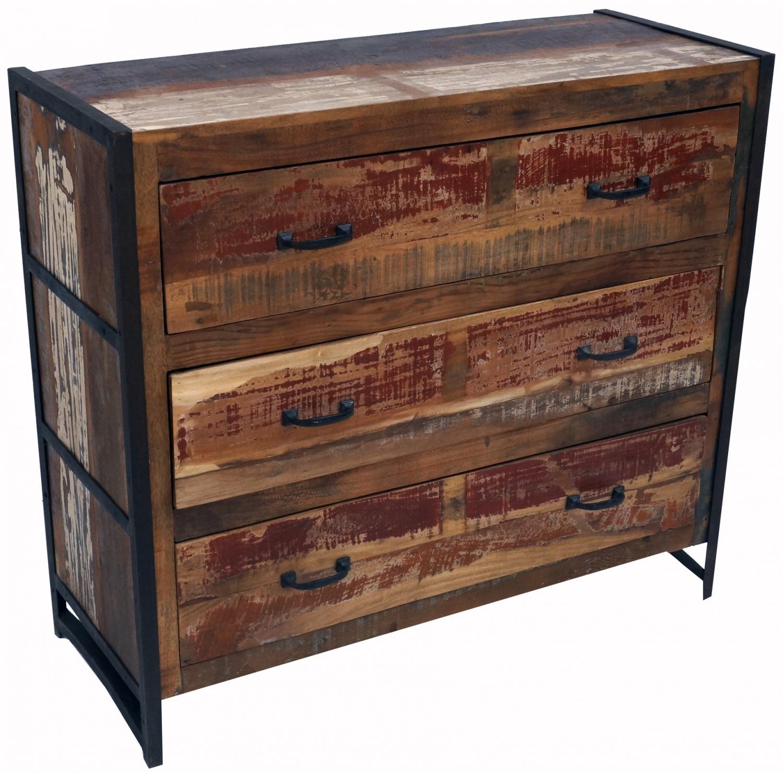 Kommode Beistellschrank Kommode Fernsehschrank Aus Recyceltem Holz Modell 6 90x100x40 Cm