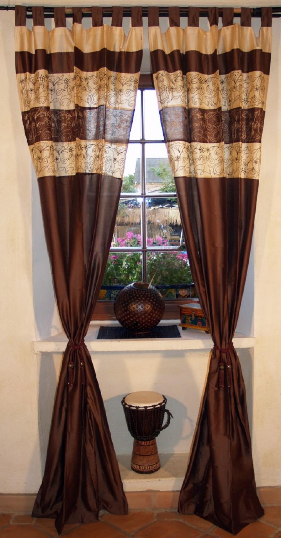 vorhang gardine 1 paar vorh nge gardinen braun. Black Bedroom Furniture Sets. Home Design Ideas