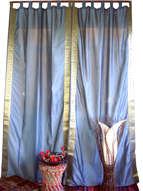 Vorhang, Gardine (1 Paar Vorhänge, Gardinen) aus Sareestoff - grau - 100 cm