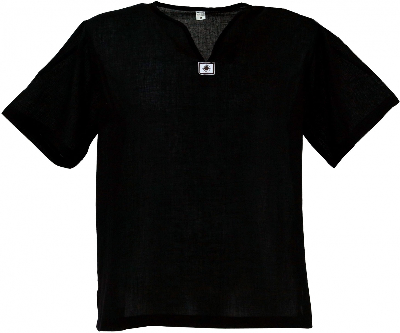 size 40 d0c52 47e1b Yoga Hemd, Goa Hemd, Kurzarm, Männerhemd, Baumwollhemd - schwarz